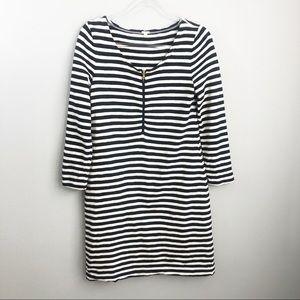J. Crew | Navy & White Long Sleeve Mini Dress